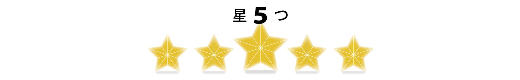 五つ星の評価